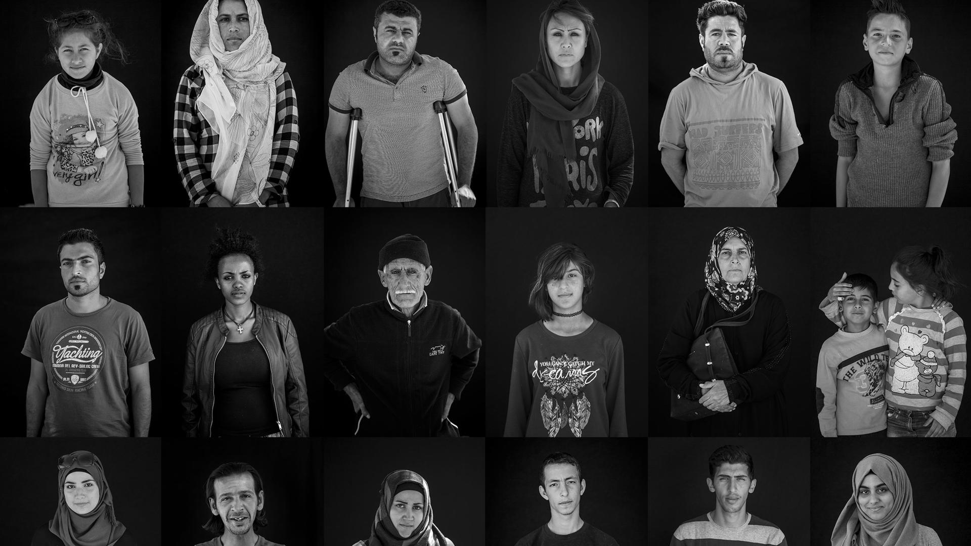 Portraits of refugees stranded in Greece.