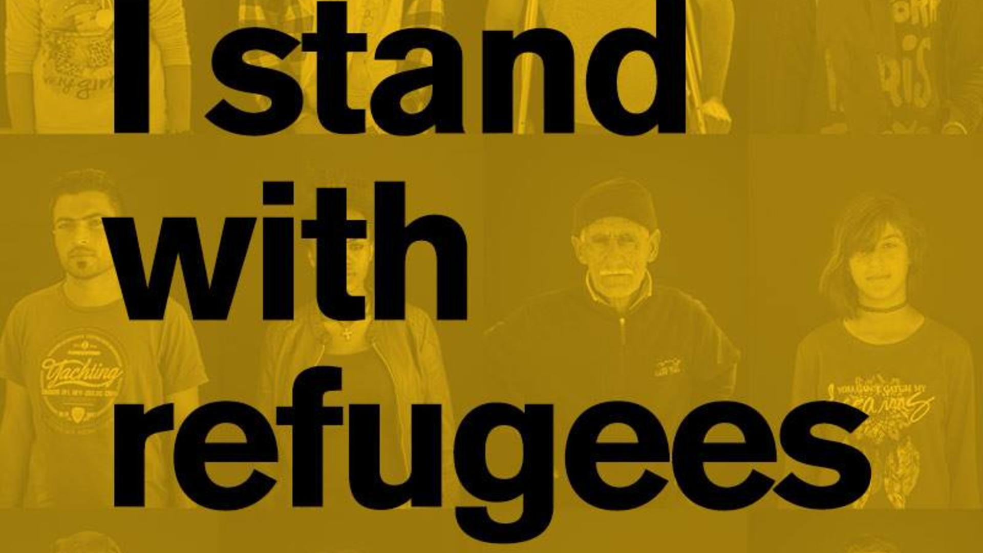 """I stand with refugees"" graphic"