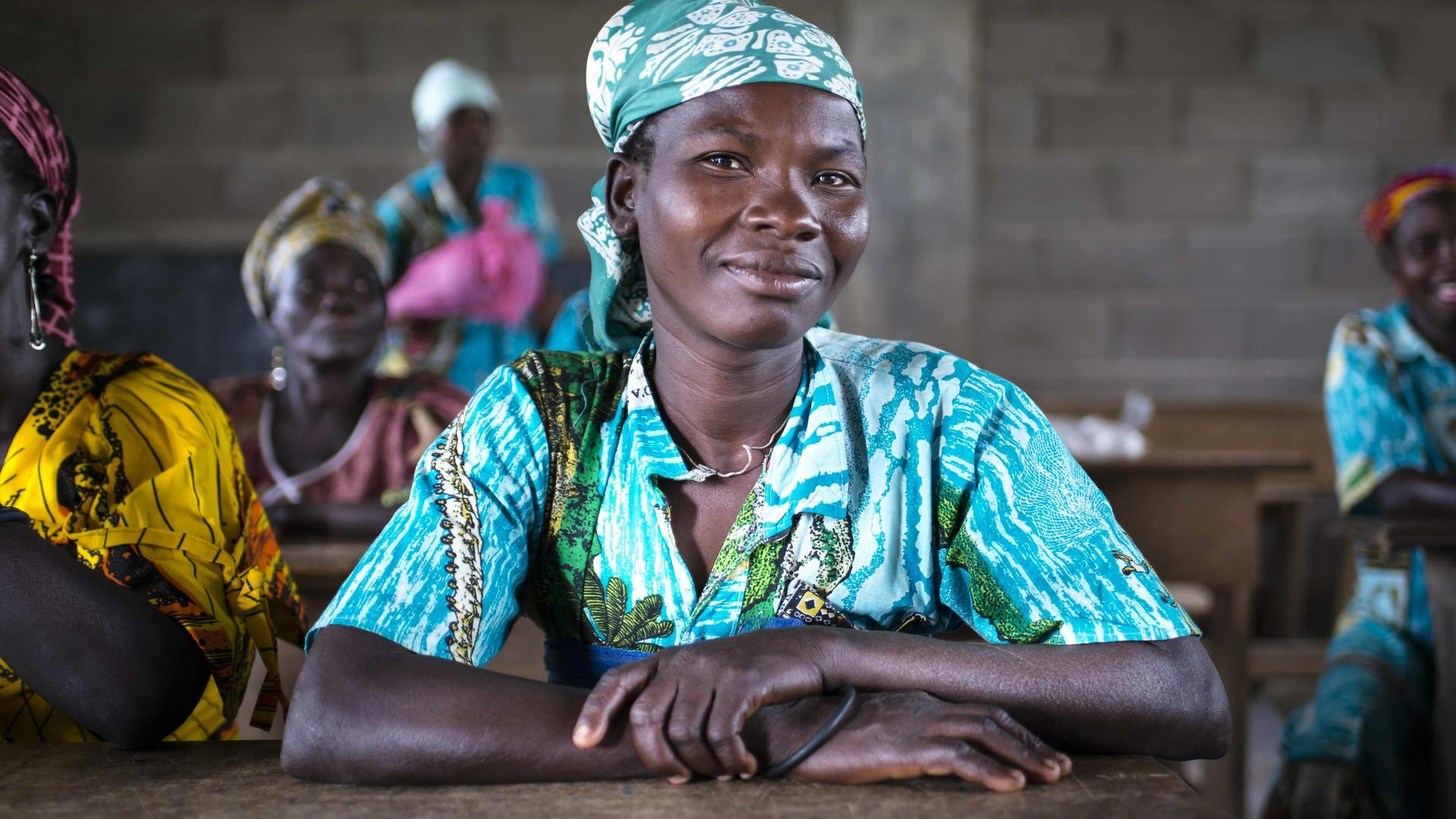 A woman in a classroom in the Central African Republic