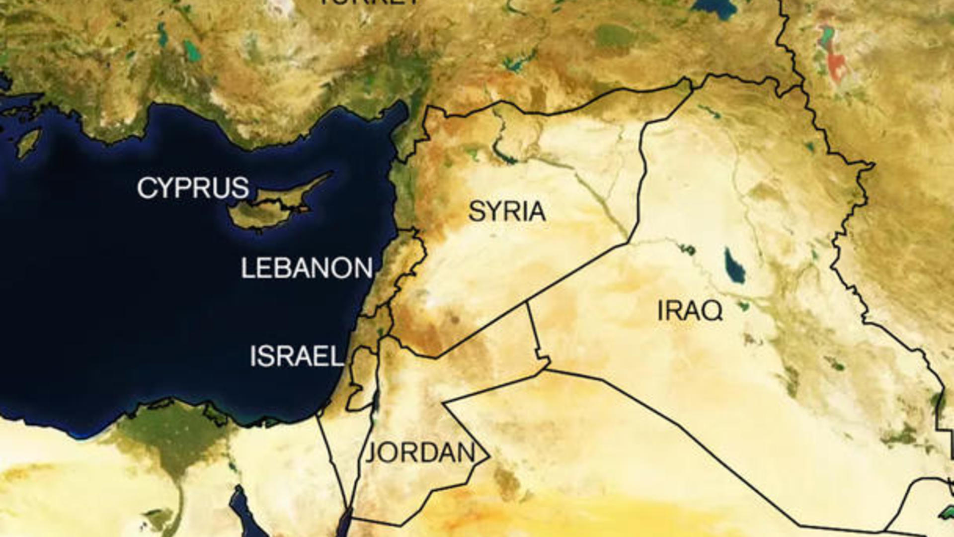 Map showing Syria and neighboring countries