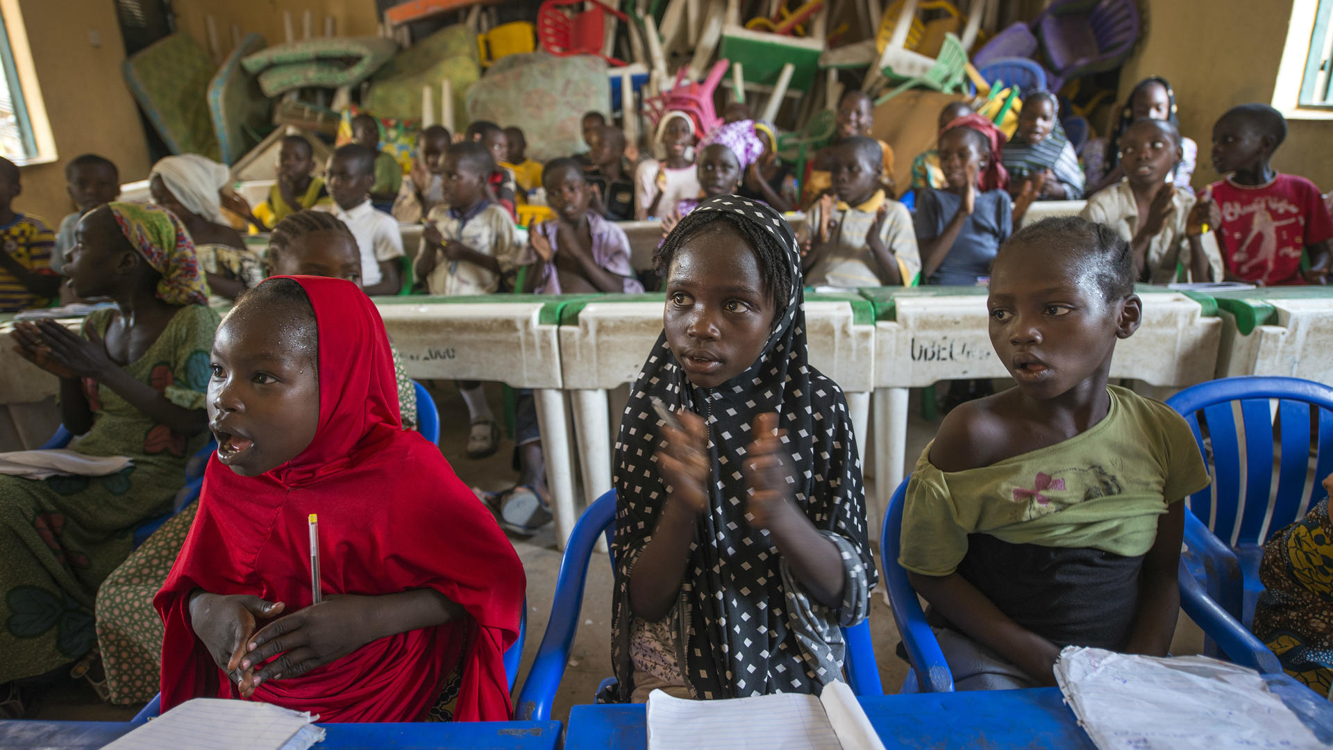 Children take part in an IRC-organized math class in a displacement camp  near Yola, Nigeria.