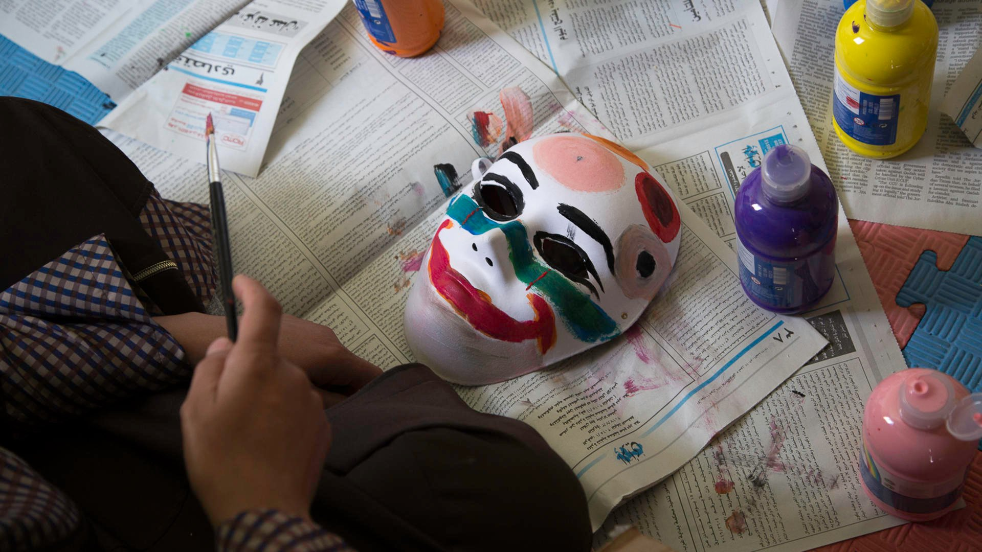 A mask painted by a Syrian refugee child