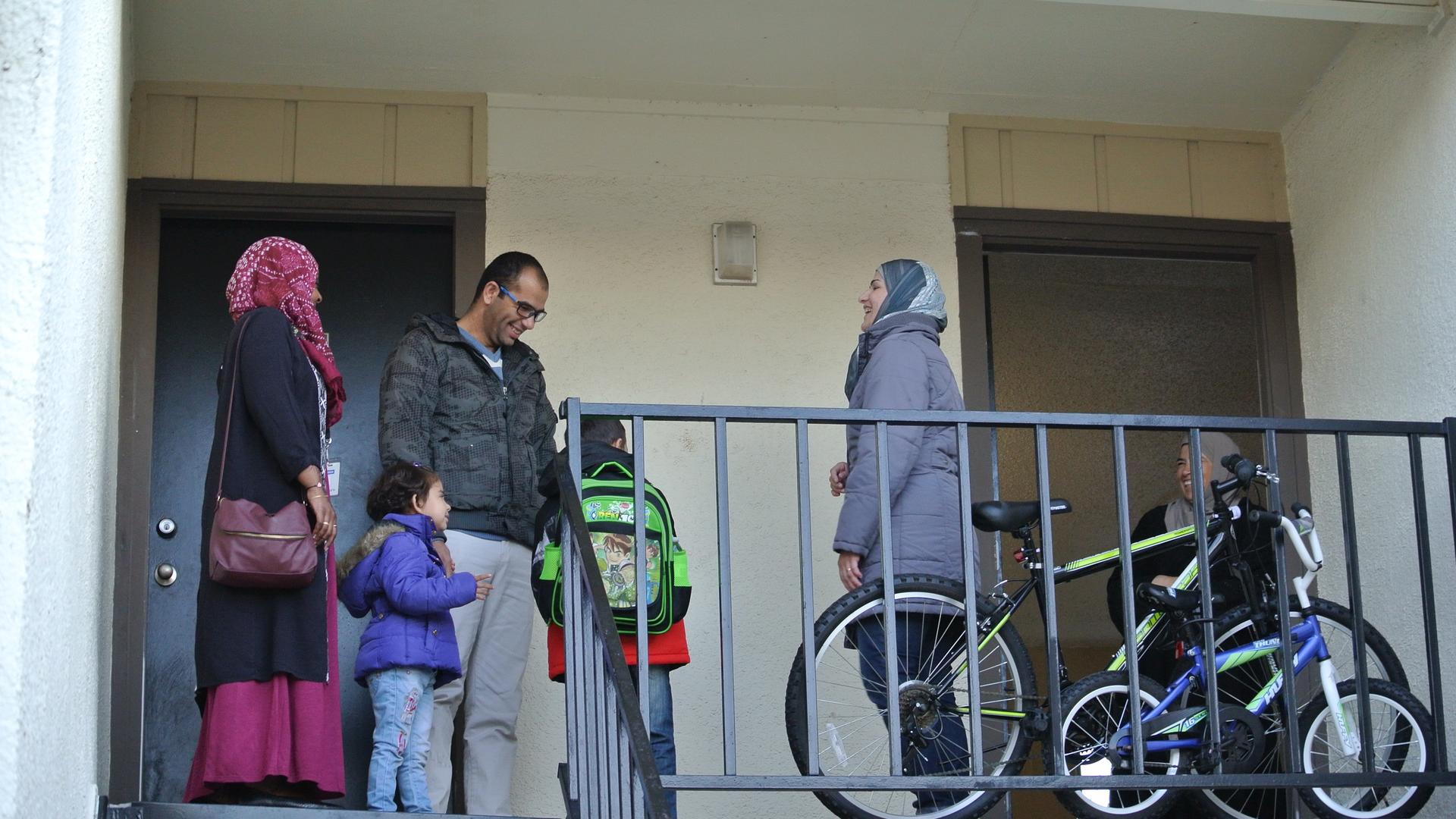 Tamam Al Sharaa and his family at their apartment in North Dallas, Texas.