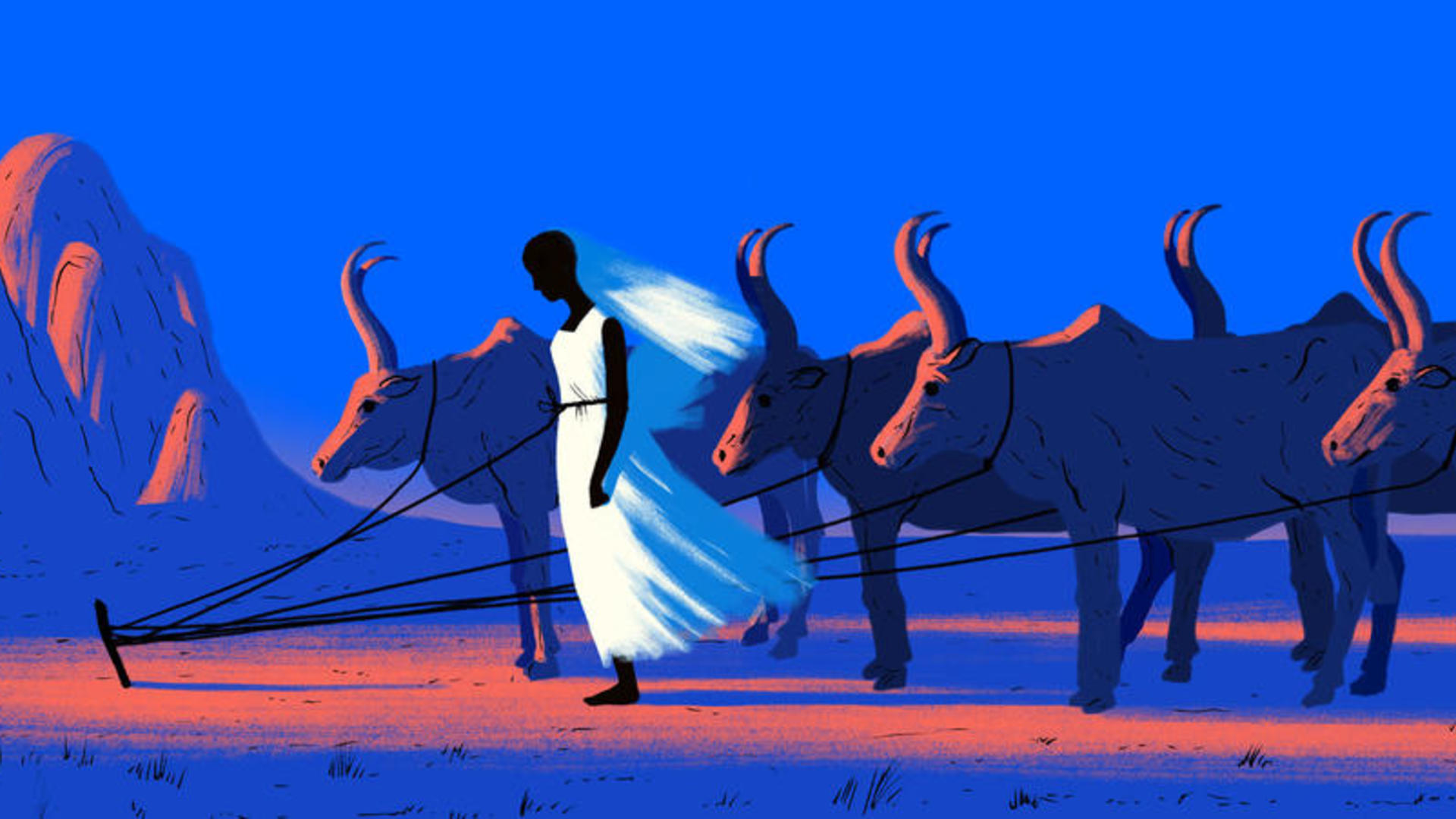 Illustration of a a girl standing tethered with cows.