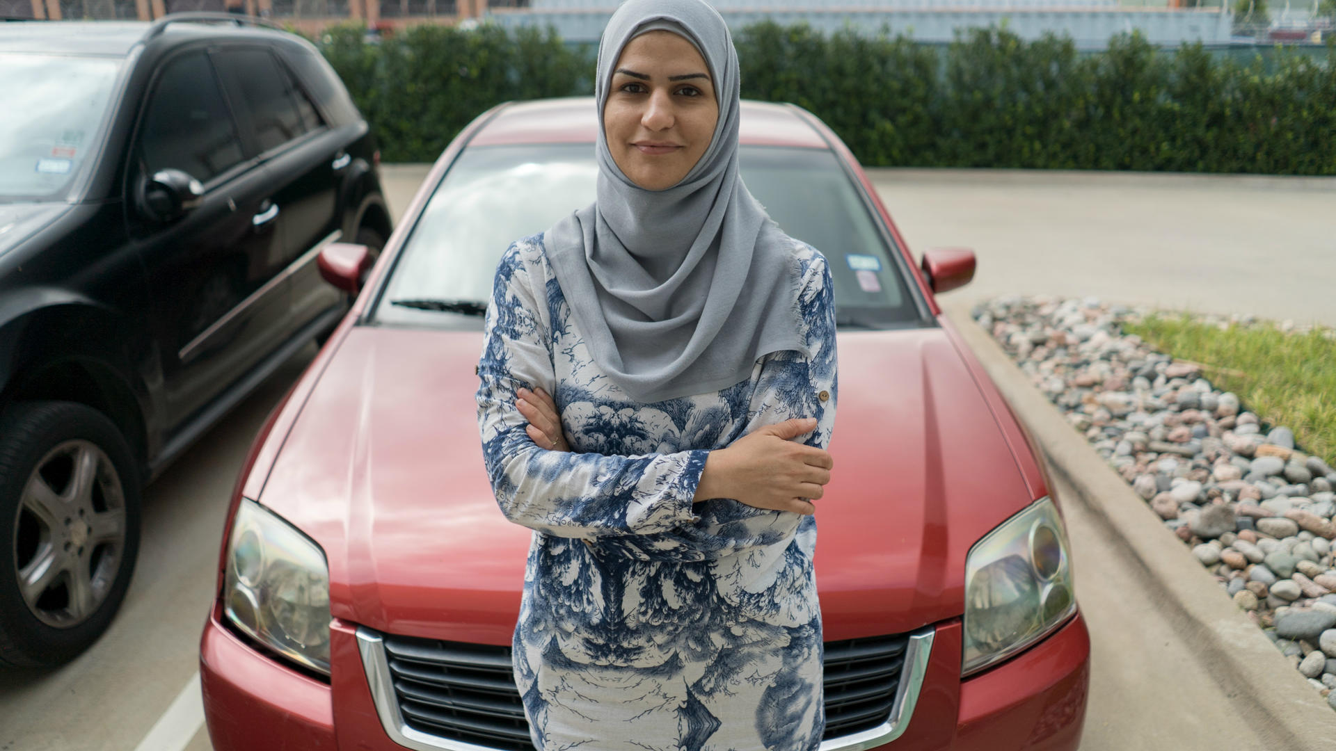 Bothina Matar with her car