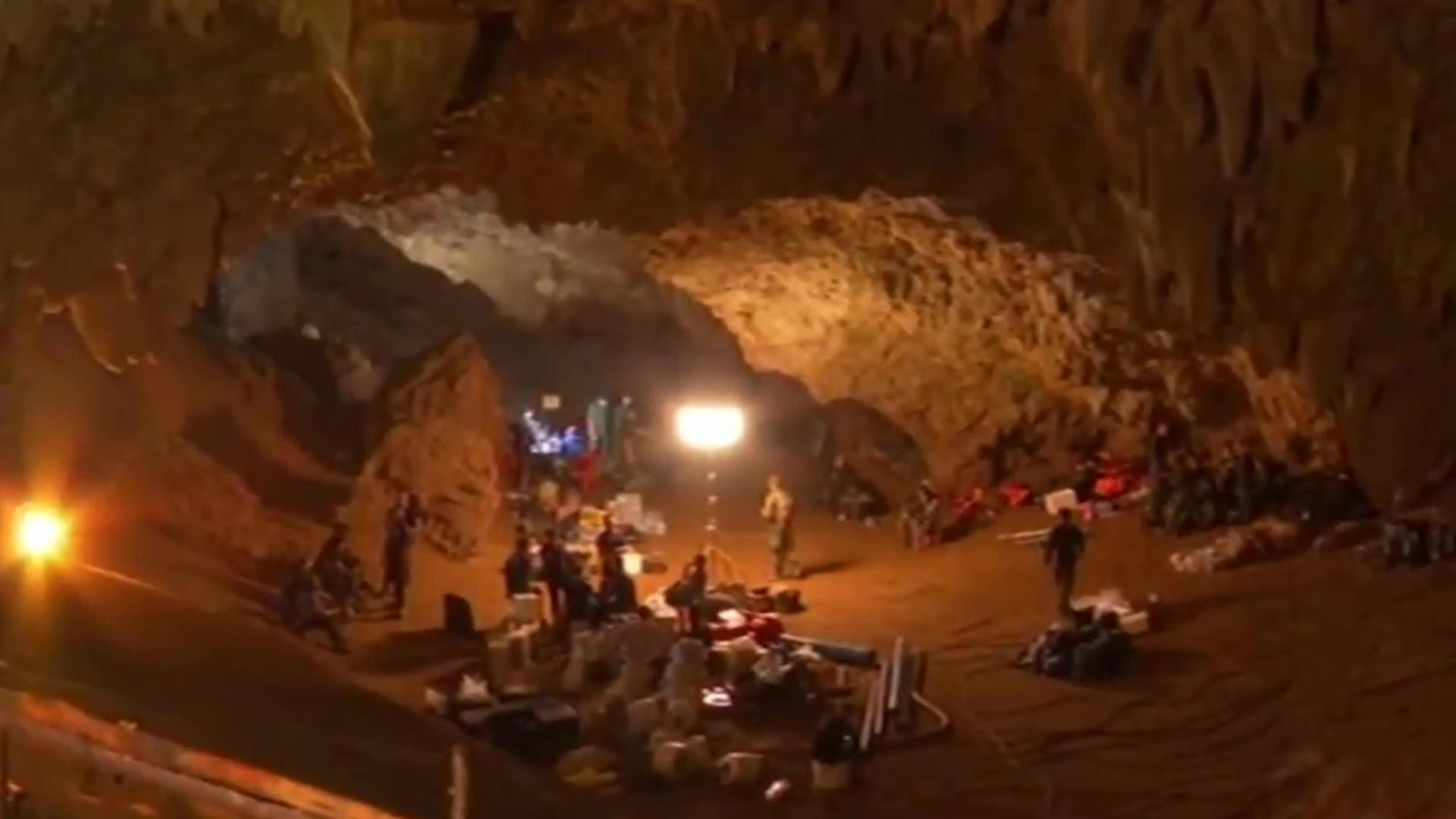 Rescue equipment in the entrance of Tham Luang cave in northern Thailand