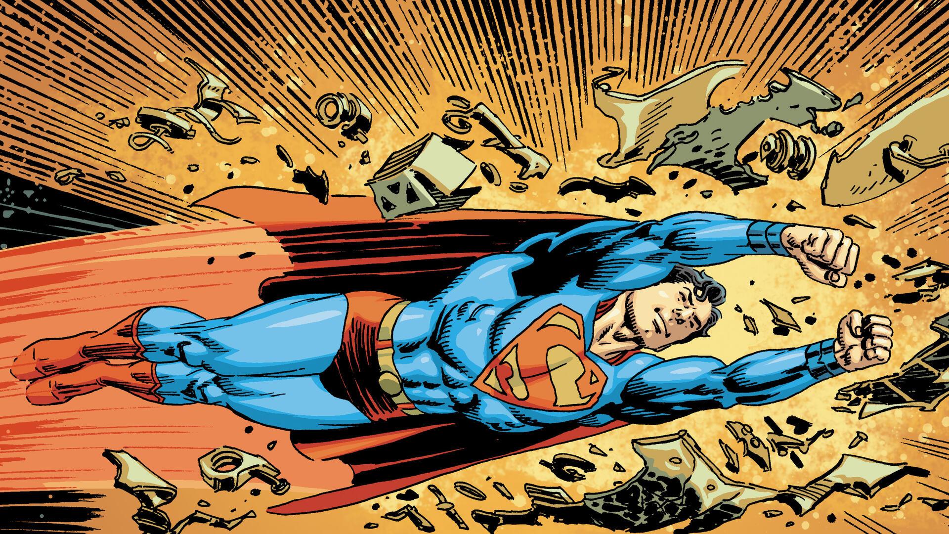 Illustration of Superman flying