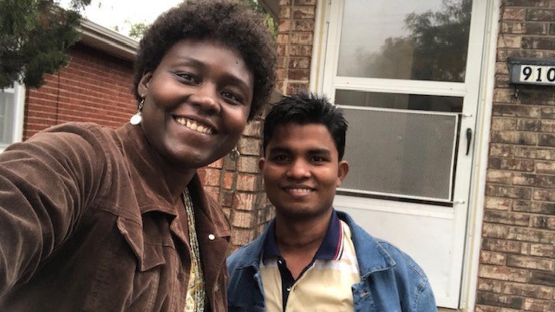 IRC staff member Amy Longa with Nor Kamel, a 19-year-old Rohingya refugee from Myanmar (Burma)