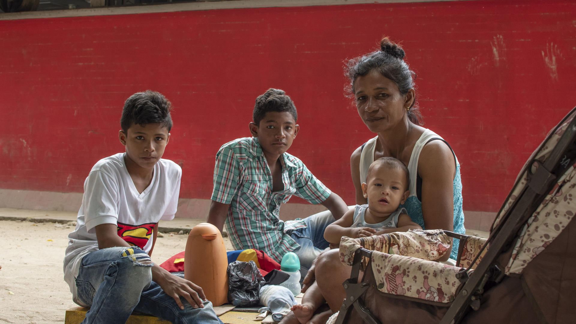 A Venezuelan family living on the street in Bogota, Colombia
