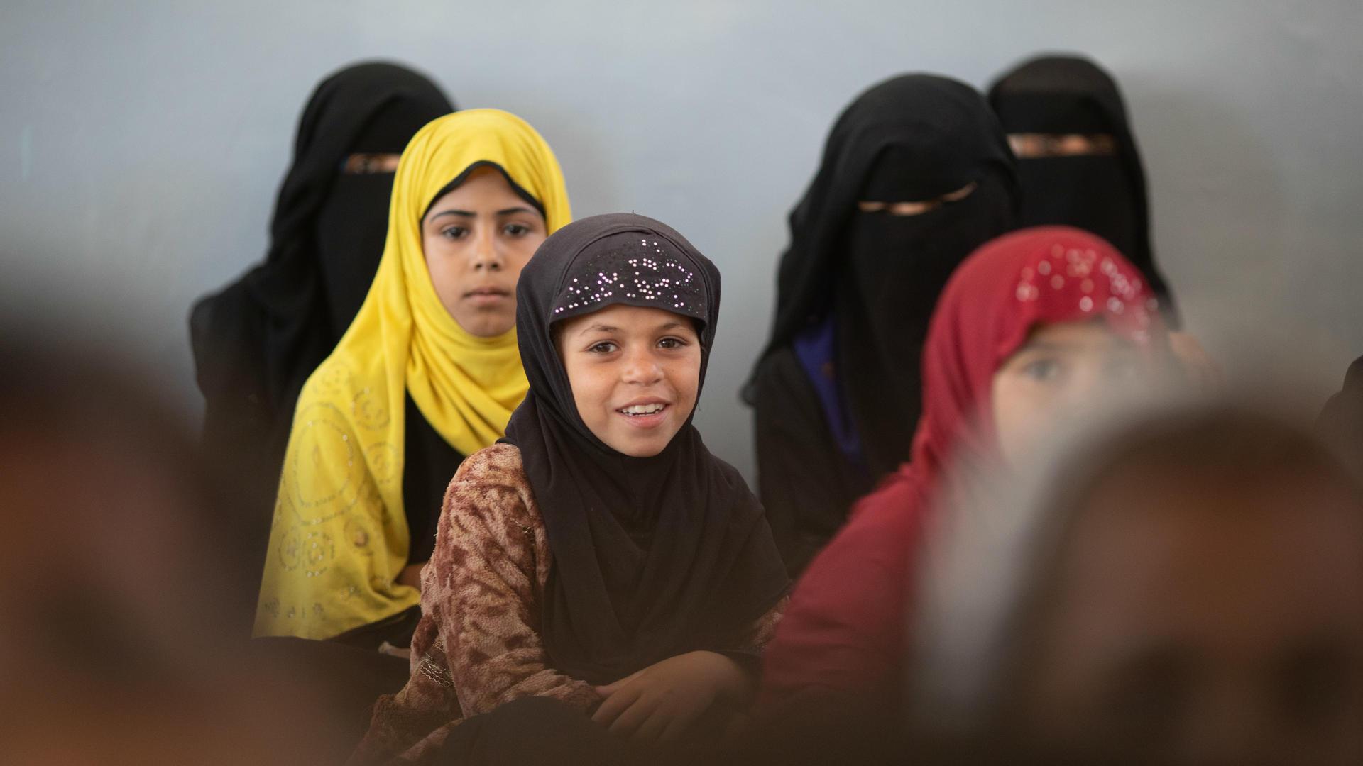 Girls in a classroom in Yemen