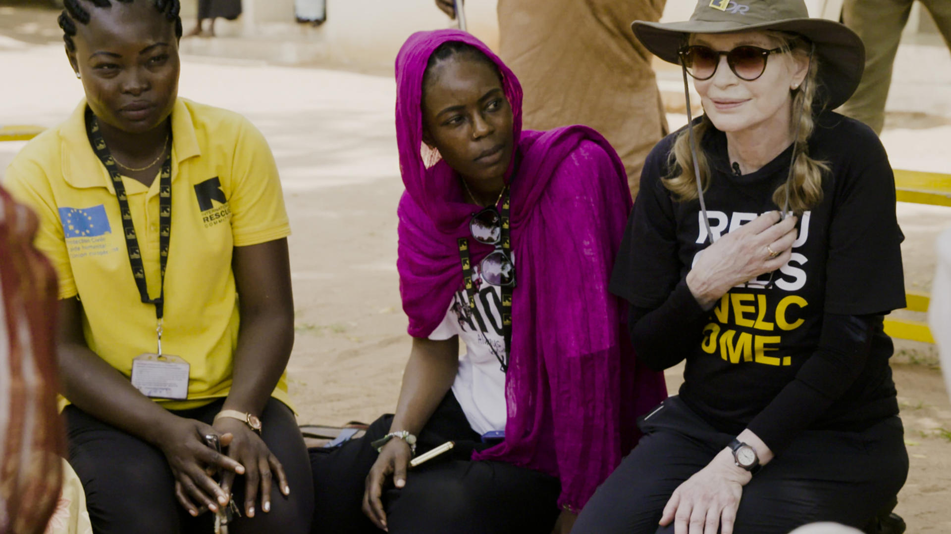 Mia Farrow with International Rescue Committee nutrition program staff in Chad.