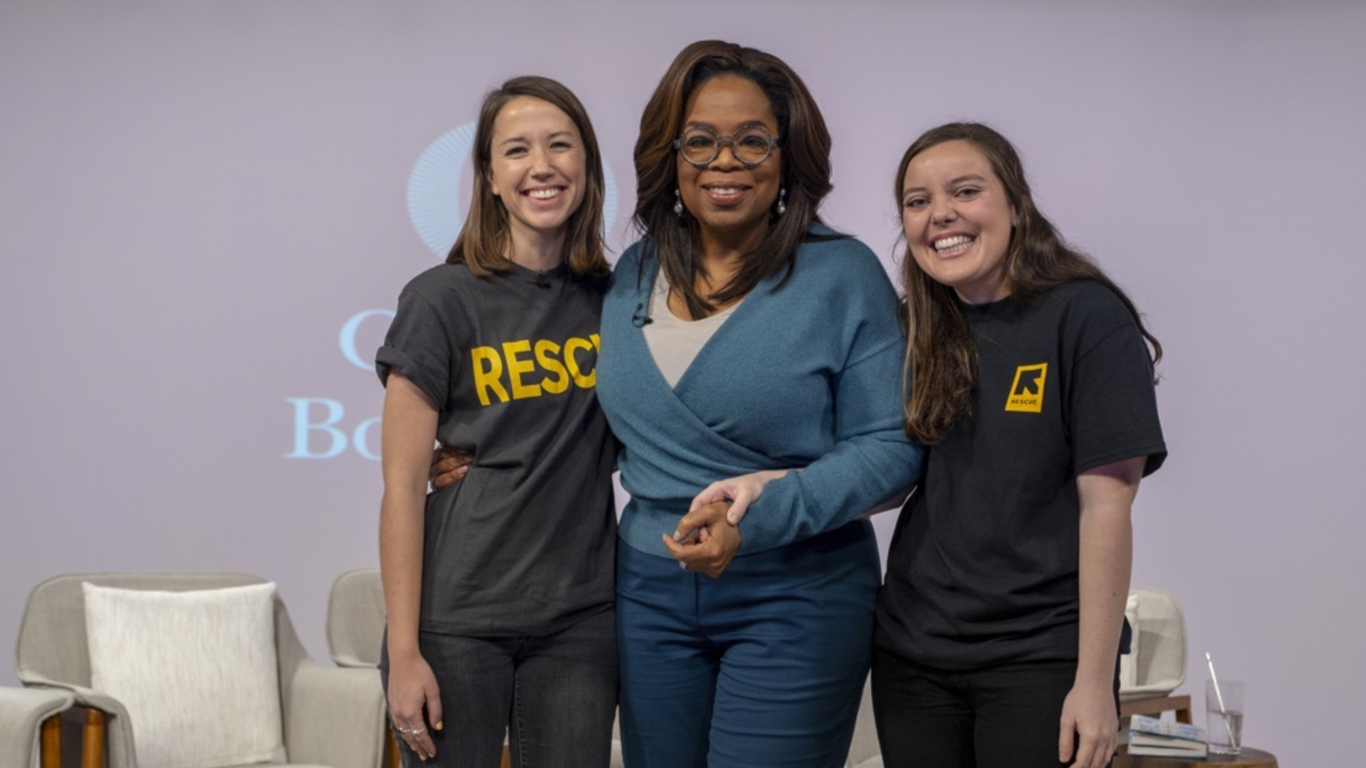 Oprah Winfrey with IRC staff Camille André and Hope Arcuri in Phoenix. Ariz.
