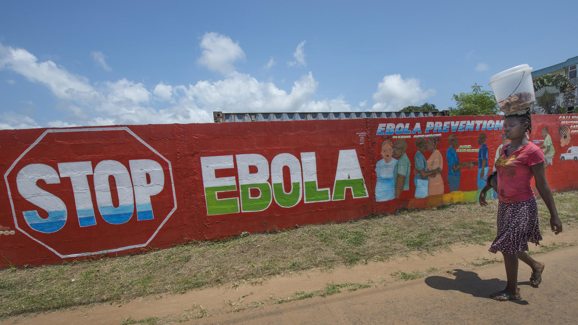 "A woman in Monrovia, Liberia, walks past a mural that reads ""Stop Ebola."""
