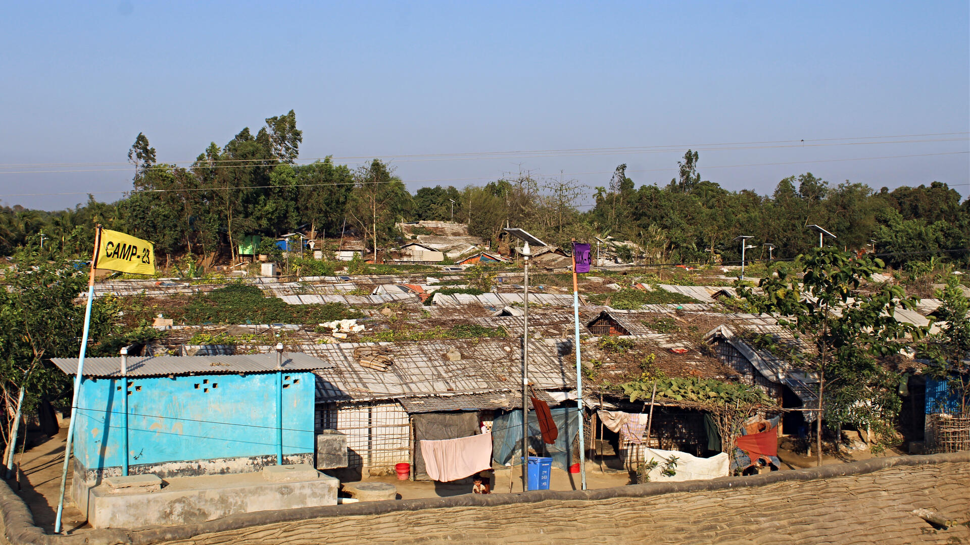A panoramic view of the crowded Cox's Bazar refugee camp in Bangladesh