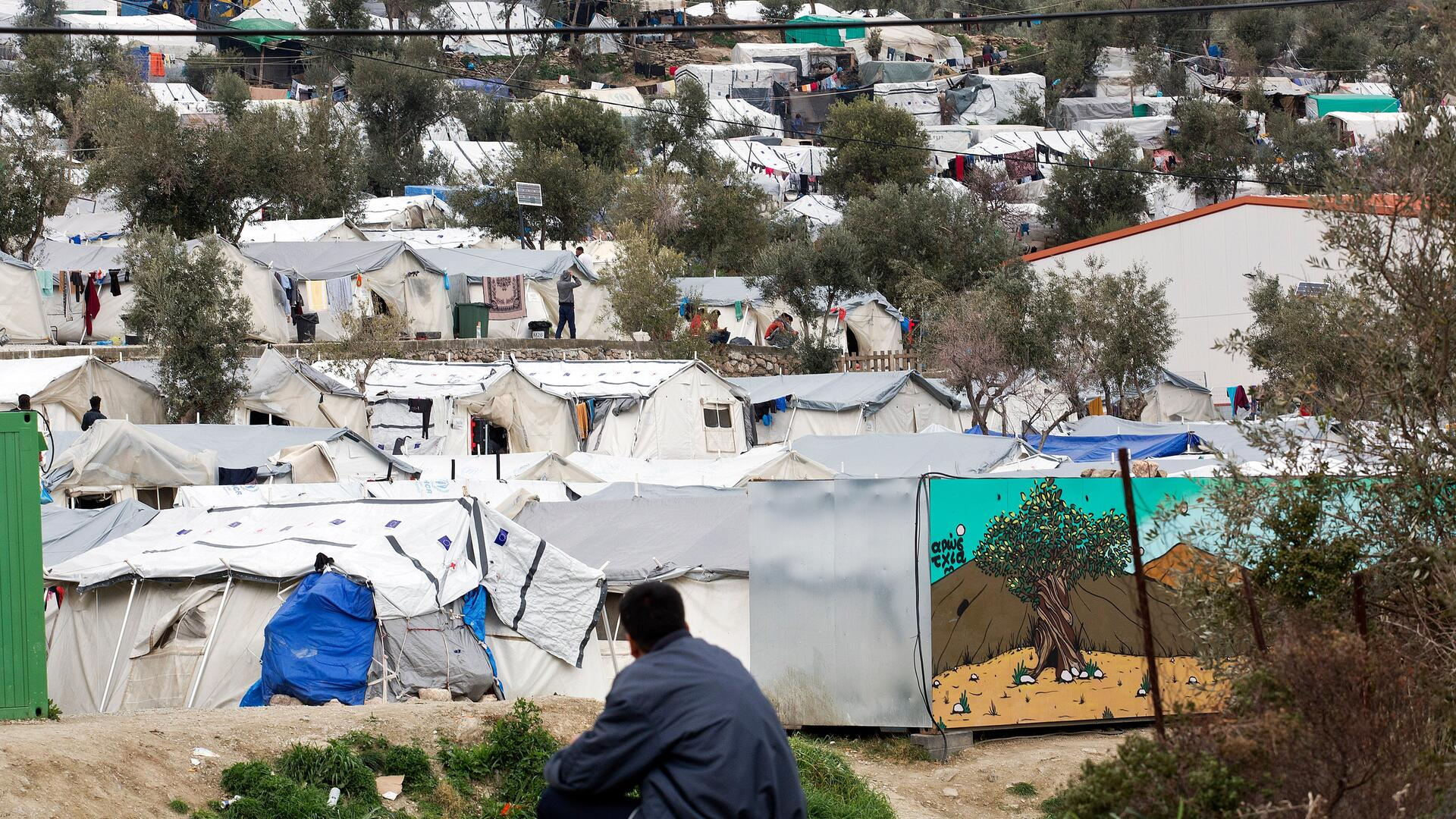 Rows of tents crowded together in Moria refugee camp, Greece