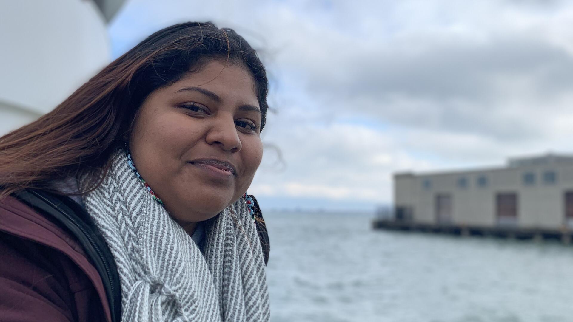 DACA recipient Lupe by the waterfront in California