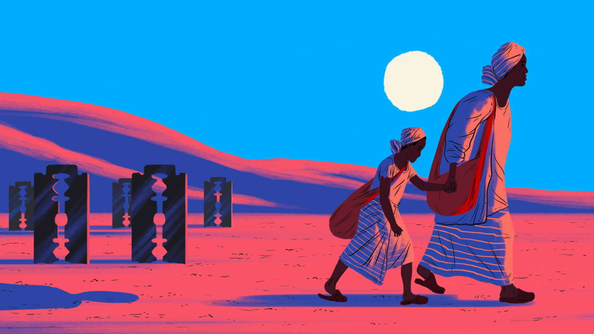 An illustration of Alia, a woman who escaped Sudan and is attempting to make it to Italy. Alia is walking in the desert while holding hands with her 11-year-old daughter. It is evening and there is a bright blue sky and white moon behind them.