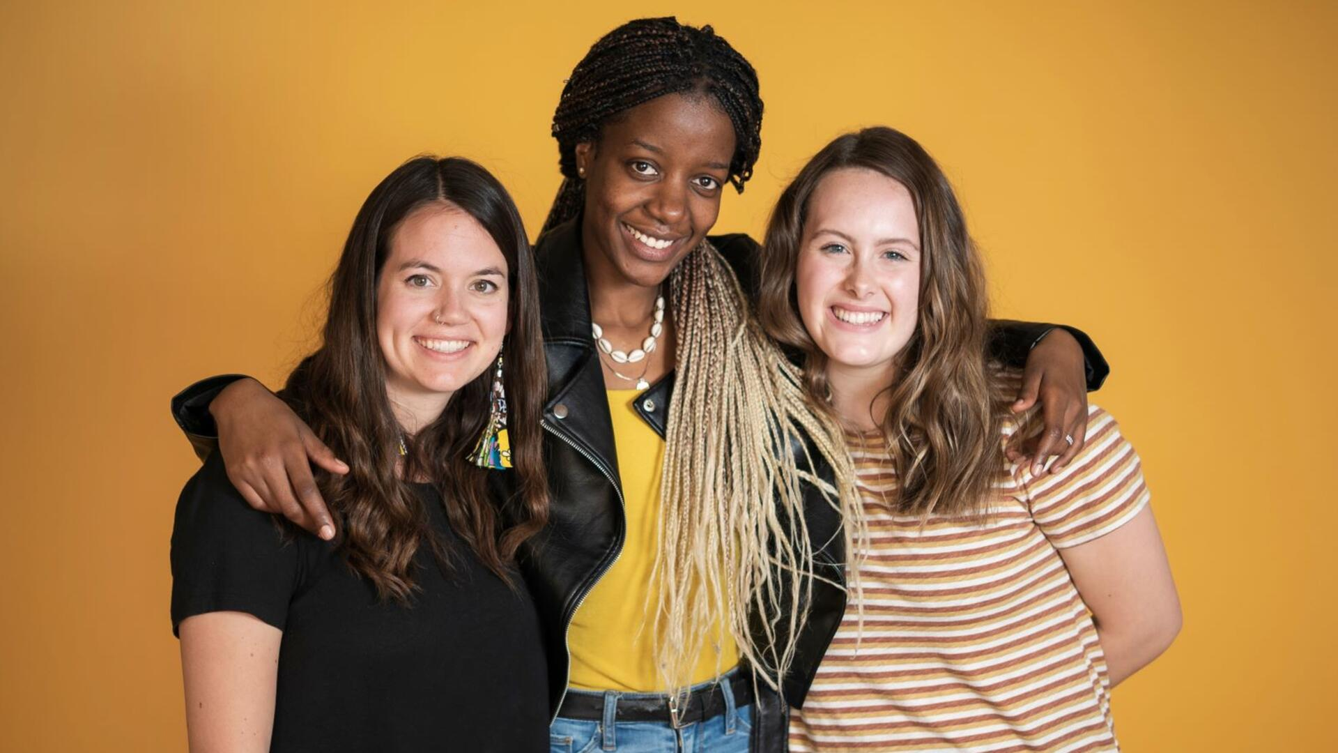 Christelle Igihozo with her friends Janna Brown and Charlee Andree
