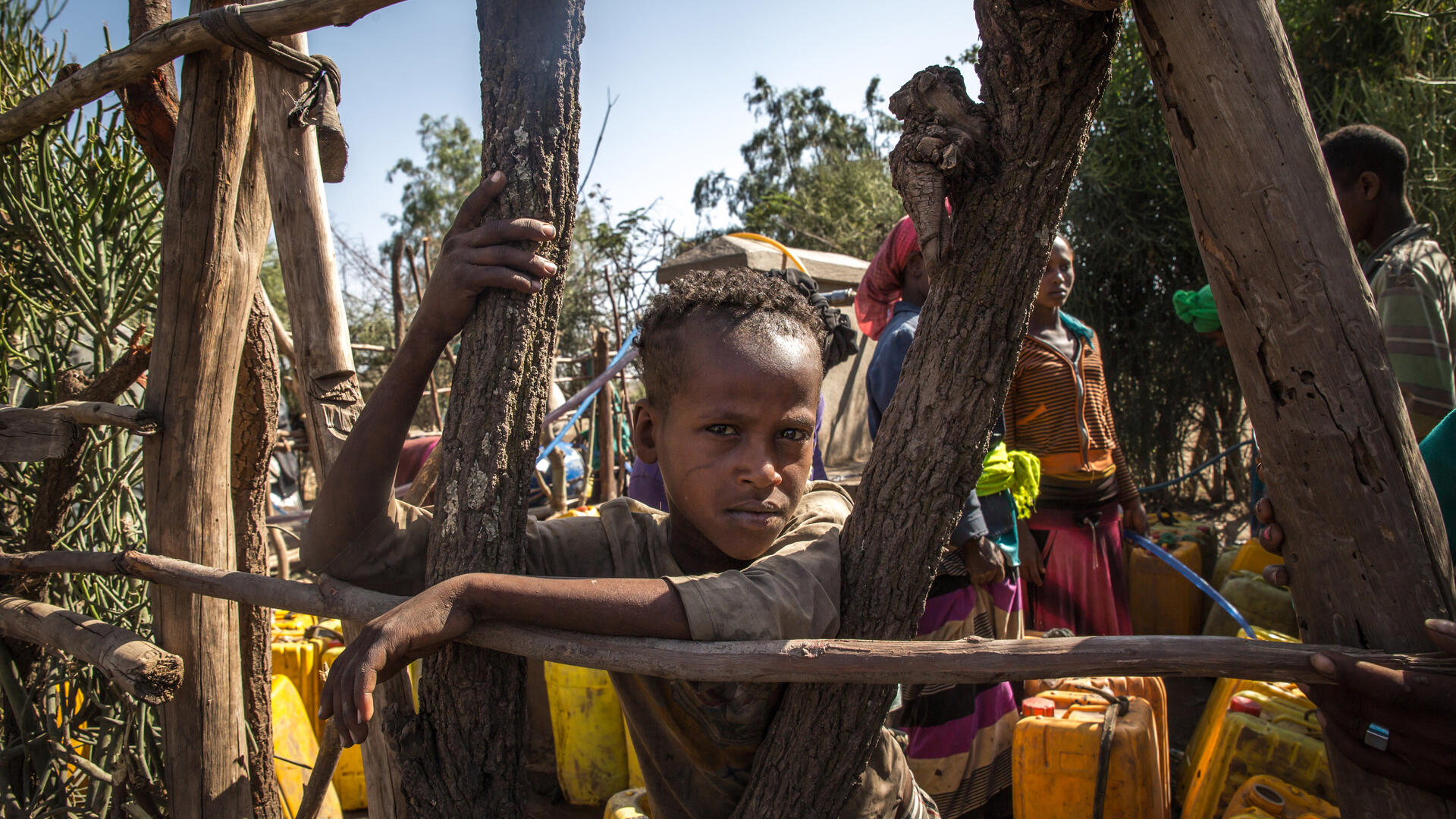 A boy leans against a fence made of branches in Ethiopia