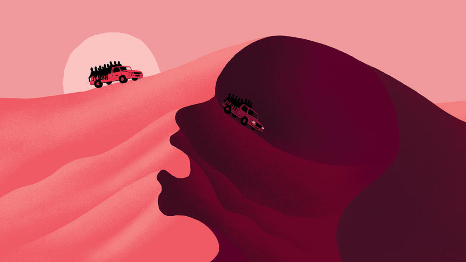 Two trucks drive over a very high sand dune with their beds filled almostly entirely with people. The illustration is done entirely in pink and black.