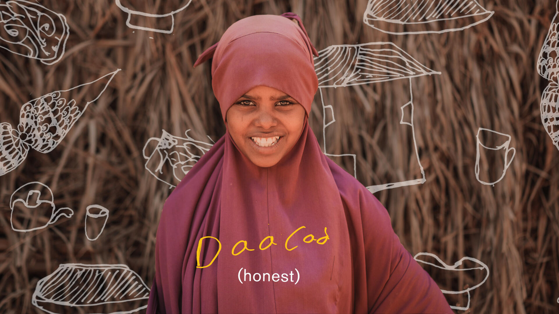 "Asha Shoaib Hassan, wearing maroon, smiles. There is text on the page that reads ""honest"" in English and Somali."