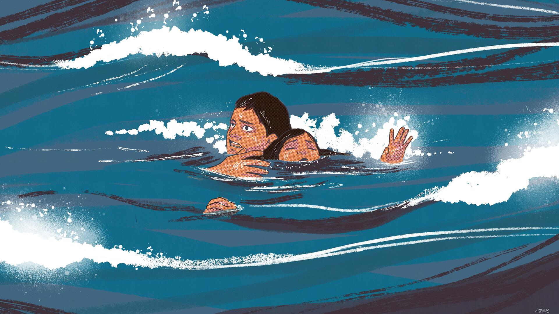 An illustration of Ali, an Afghan teenager, swimming carrying his sister after their boat  sunk crossing to Greece.