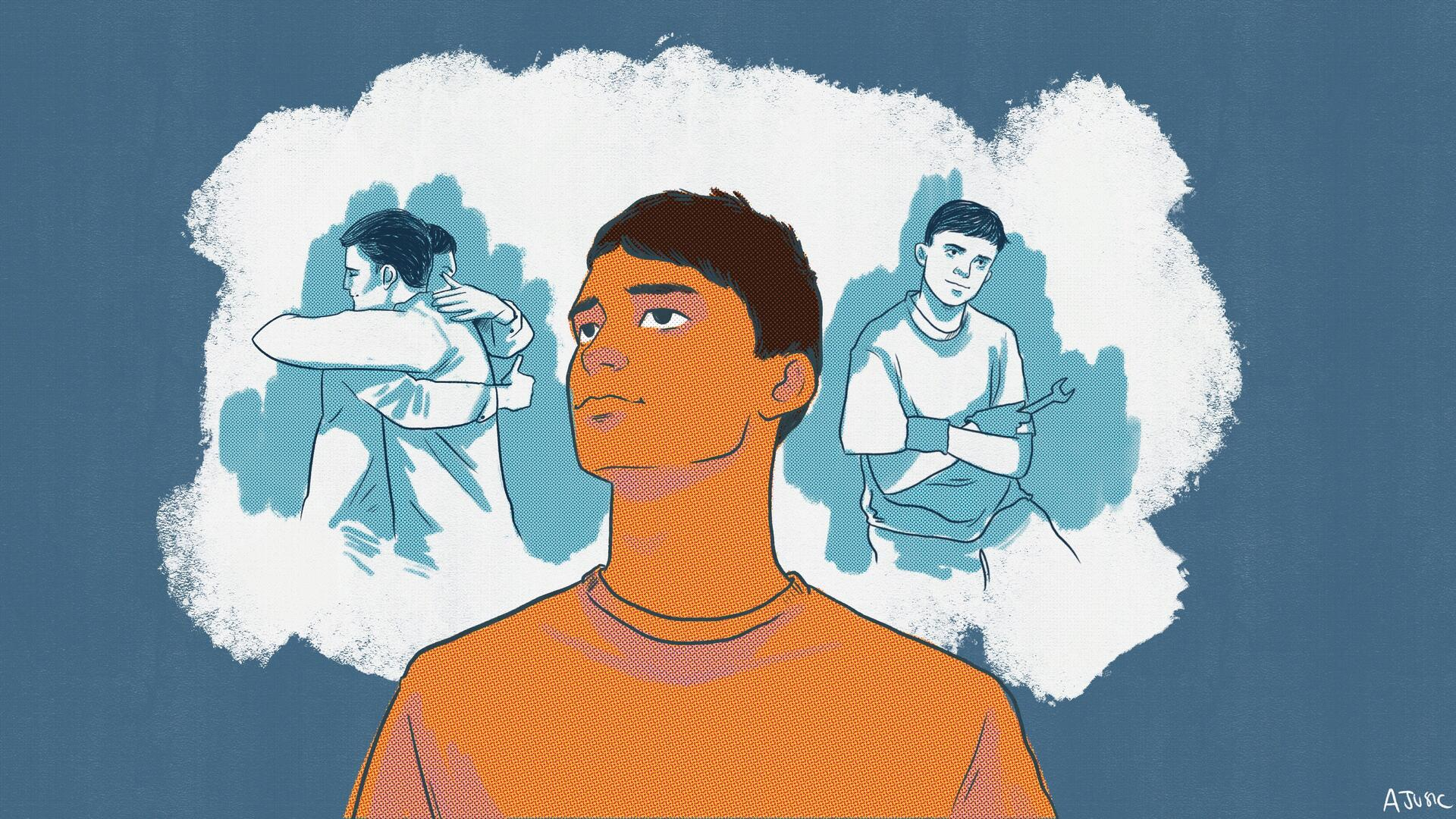 An illustration of 16-yar-old Afghan refugee Ali looking into a bubble that represents his hopes and dreams. In the bubble, his future self is shown hugging his brother and holding a mechanic's wrench.
